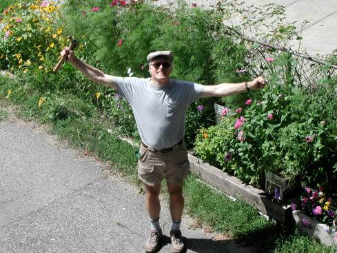 Andy showing off his garden.